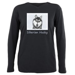 Siberian Husky (Black an Plus Size Long Sleeve Tee
