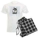 Siberian Husky (Black and Whi Men's Light Pajamas