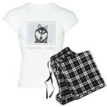 Siberian Husky (Black and W Women's Light Pajamas