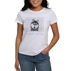 Siberian Husky (Blac Women's Classic White T-Shirt