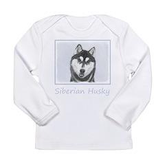 Siberian Husky (Black a Long Sleeve Infant T-Shirt