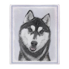 Siberian Husky (Black and White) Throw Blanket