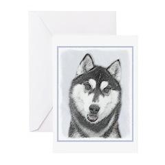 Siberian Husky (Black an Greeting Cards (Pk of 20)