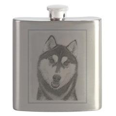 Siberian Husky (Black and White) Flask