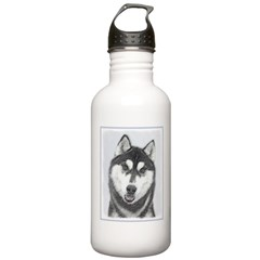 Siberian Husky (Black Water Bottle