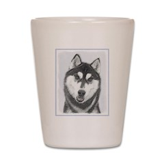 Siberian Husky (Black and White) Shot Glass