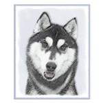 Siberian Husky (Black and White) Small Poster