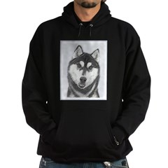 Siberian Husky (Black and White) Hoodie (dark)