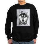 Siberian Husky (Black and White) Sweatshirt (dark)