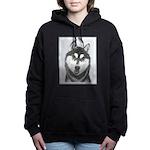 Siberian Husky (Black an Women's Hooded Sweatshirt