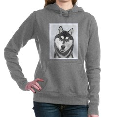 Siberian Husky (Black an Women's Hooded Sweatshirt