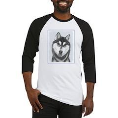 Siberian Husky (Black and White) Baseball Tee