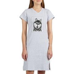 Siberian Husky (Black and White Women's Nightshirt