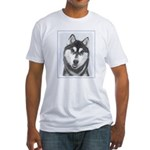 Siberian Husky (Black and White) Fitted T-Shirt