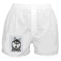 Siberian Husky (Black and White) Boxer Shorts