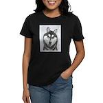 Siberian Husky (Black and Whi Women's Dark T-Shirt