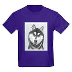 Siberian Husky (Black and White) Kids Dark T-Shirt