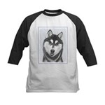 Siberian Husky (Black and White) Kids Baseball Tee