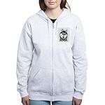 Siberian Husky (Black and White Women's Zip Hoodie