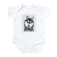 Siberian Husky (Black and Whit Baby Light Bodysuit
