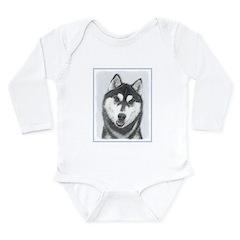 Siberian Husky (Black Long Sleeve Infant Bodysuit