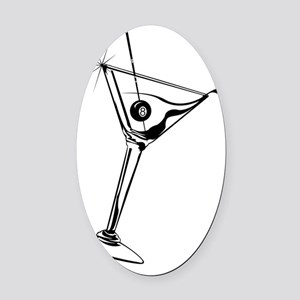 martini 8ball_10x10_4White Oval Car Magnet