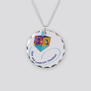 Hanukkah Dreidel Necklace Circle Charm