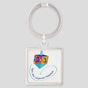 Hanukkah Dreidel Square Keychain