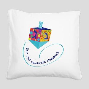 Hanukkah Dreidel Square Canvas Pillow