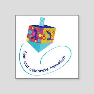 "Hanukkah Dreidel Square Sticker 3"" x 3"""