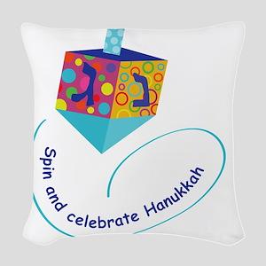 Hanukkah Dreidel Woven Throw Pillow