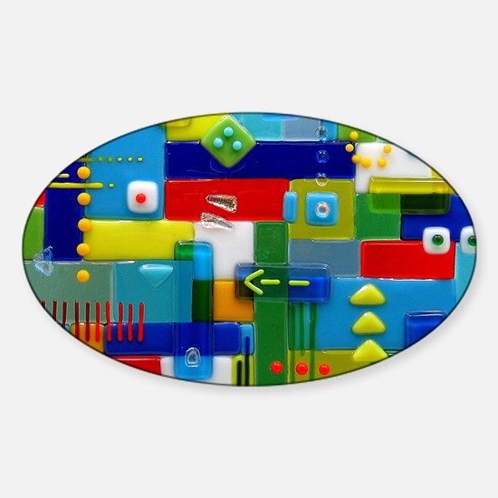 Fused Glass Collage Sticker (Oval)