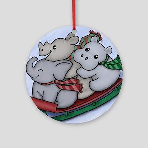 eleph rhino hippo sled with frame Round Ornament