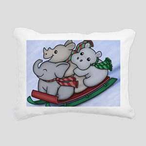 eleph rhino hippo sled Rectangular Canvas Pillow