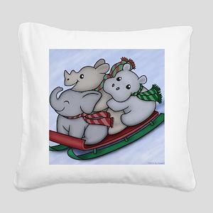 eleph rhino hippo sled Square Canvas Pillow