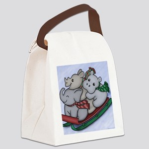 eleph rhino hippo sled Canvas Lunch Bag