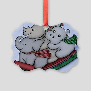 eleph rhino hippo sled Picture Ornament