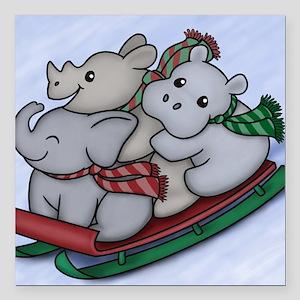 "eleph rhino hippo sled Square Car Magnet 3"" x 3"""