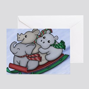 eleph rhino hippo sled Greeting Card