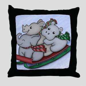 eleph rhino hippo sled Throw Pillow