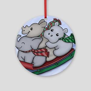 eleph rhino hippo sled Round Ornament