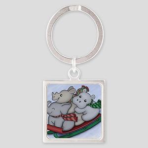eleph rhino hippo sled Square Keychain