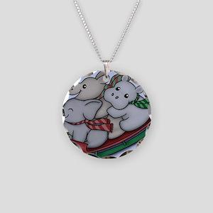 eleph rhino hippo sled Necklace Circle Charm