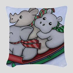 eleph rhino hippo sled Woven Throw Pillow