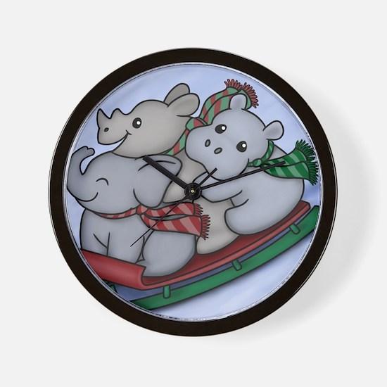 eleph rhino hippo sled Wall Clock
