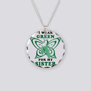 I Wear Green for my Sister Necklace Circle Charm