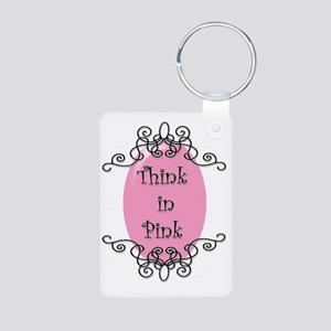 think-in-pink2-bigger Aluminum Photo Keychain