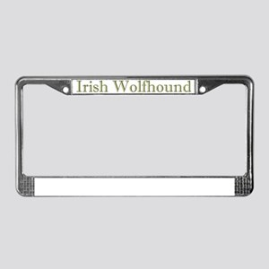 IWolfhoundBowlMossGreen License Plate Frame
