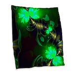 Irish Goblin Emerald Gold Burlap Throw Pillow