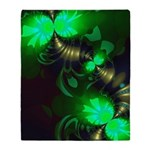 Irish Goblin Emerald Gold Ribbons Throw Blanket